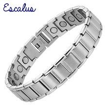 Bracelet pour hommes magnétique couleur argent Escalus en acier inoxydable avec aimants et breloque, Bracelet pour hommes Bio, bijoux de santé, Bracelet pour hommes