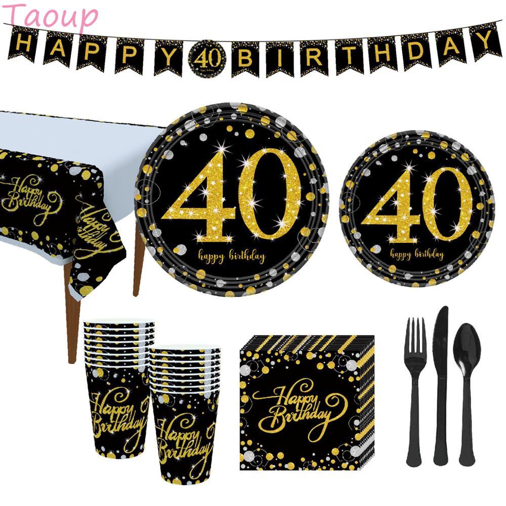 Taoup 40th cumpleaños fiesta platos de vajilla de papel pancartas mantel toallas feliz 40 decoraciones para fiesta de cumpleaños adultos padres