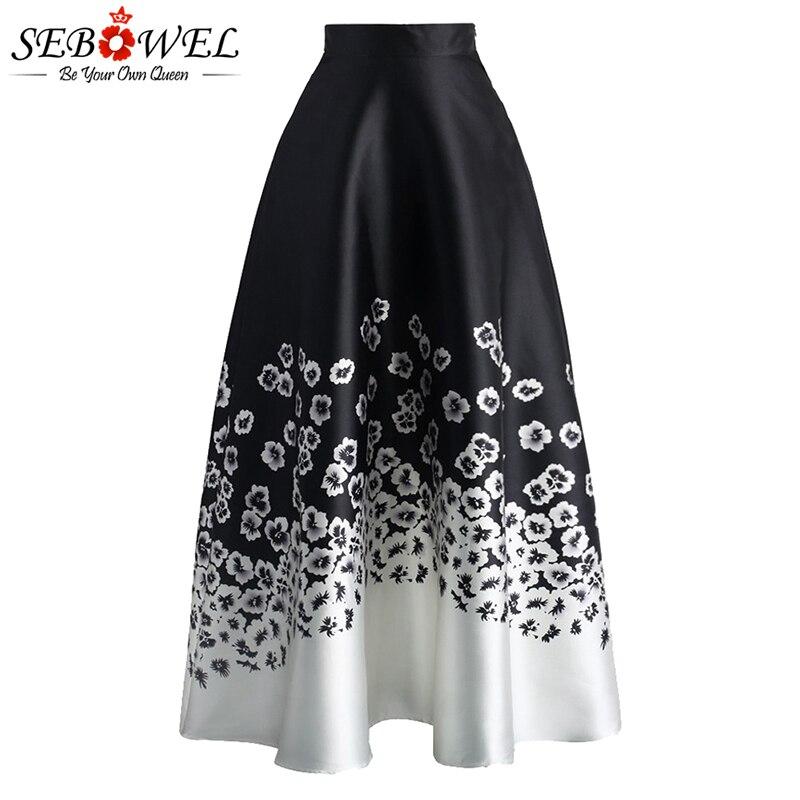 Sebowel vintage floral imprimir saia longa feminina elegante de cintura alta preto branco flor maxi saia casual fora da senhora midi saias 2020