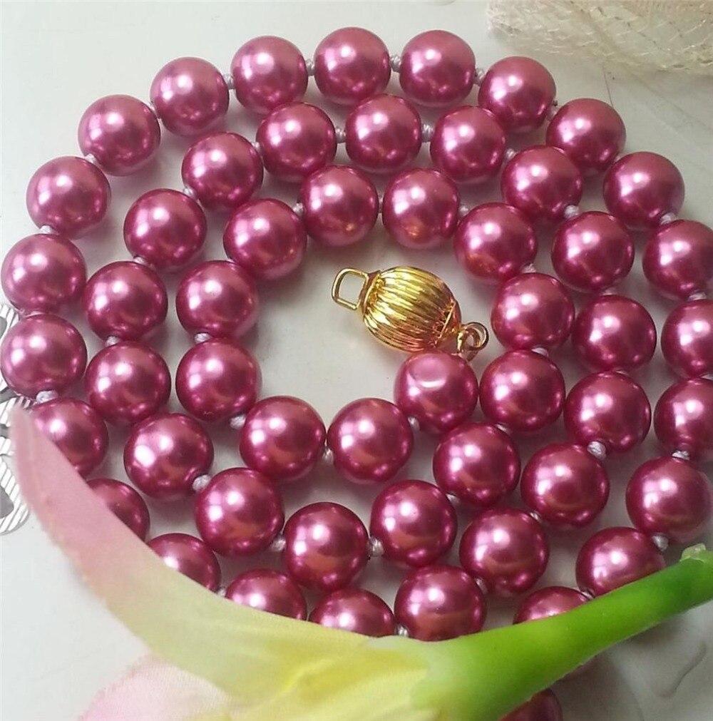 Nuevo (pedido mínimo 1) collar de perlas de concha de océano rojo rosa de 8mm para mujer collar de cadena de suéter de perlas de diseño de joyería de piedra Natural