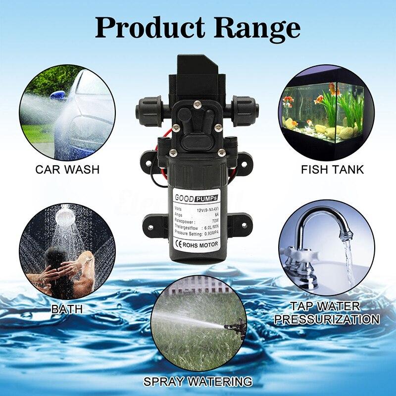 Dc12v 70w 130psi 6l/min água de alta pressão diafragma auto priming bomba inteligente interruptor elétrico lavagem carro mini bomba #251531