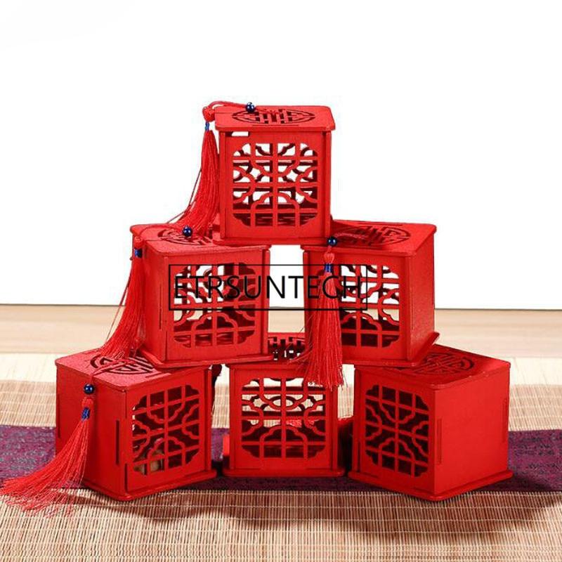 100 قطعة خمر الشاي العلبة الشاي يترك الحاويات التقليدية الصينية نمط الجوف خارج هدية مربع مع شرابة الخشب الشاي مربع