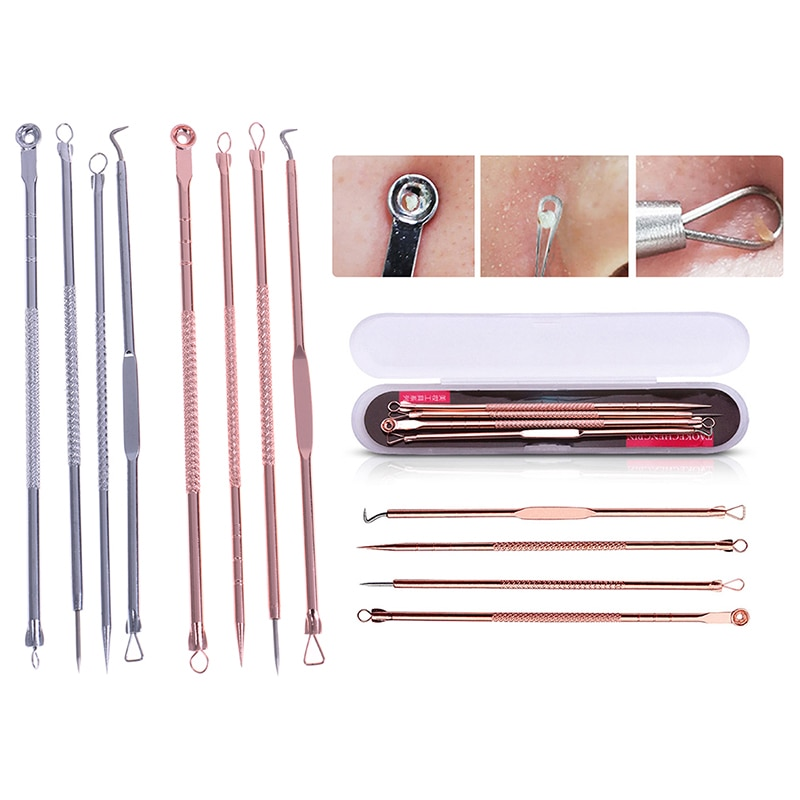 Set de 4 unidades por caja de herramientas para limpiar puntos negros, limpiador de puntos negros en oro rosa y negro, juego de agujas para eliminar acné