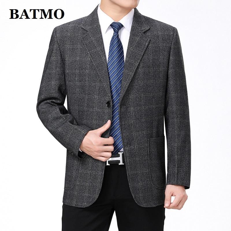Мужской Блейзер Batmo, повседневный клетчатый Блейзер большого размера 55, весна 2019