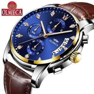OLMECA Men's Watch Fashion Luxury Quartz Watches Classic Casual relogio masculino Chronograph 30M Waterproof Brown Watch for men