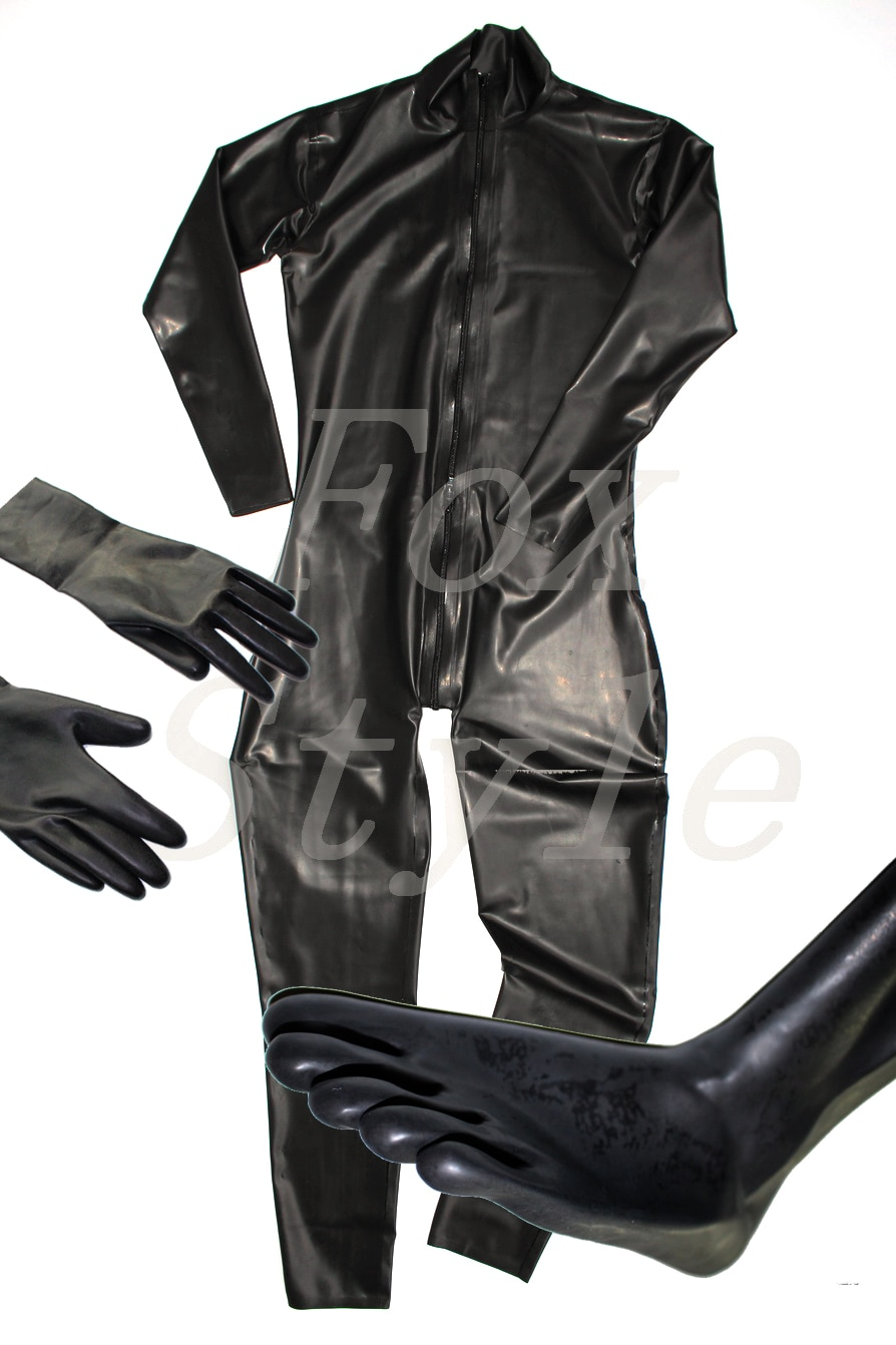 custom sized black 0,4mm Male 's latex catsuit with separate toe socks (with fingers) and gloves Front zipper to ass