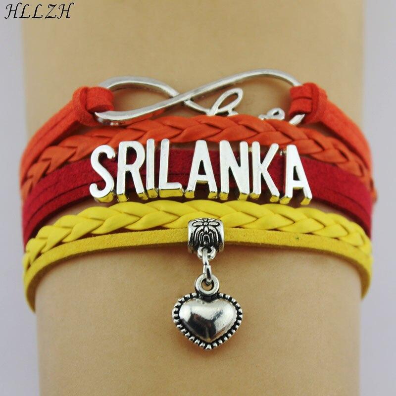 Sri Lanka HLLZH Amor Infinito Pulseiras Coração Charme Handmade Weave Corda Pulseiras De Couro Para Mulheres Homens Jóias