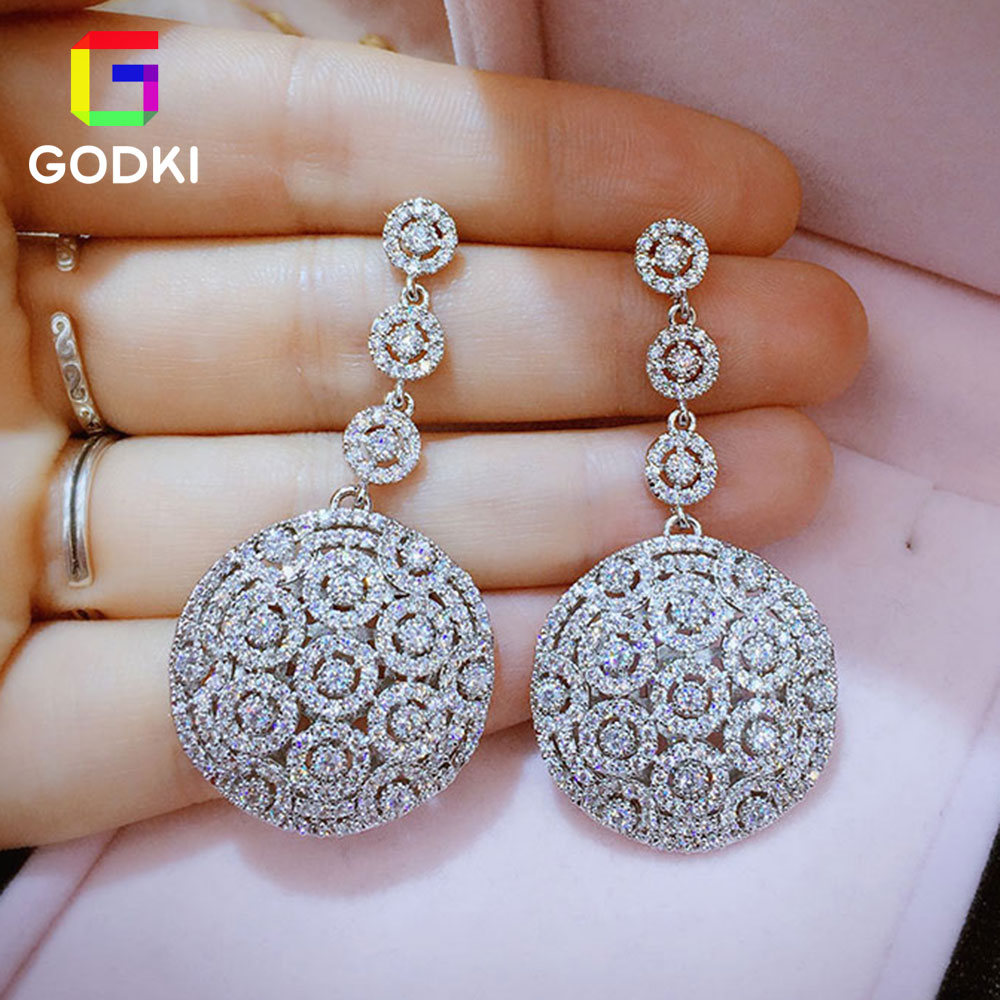 GODK Sparkling Cubic Zirconia Women Party Engagement Fashion Stud Earrings