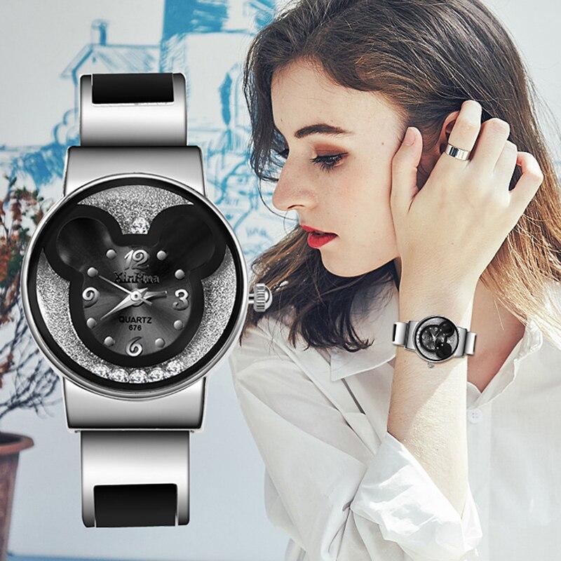 Top Marke Frauen Uhren 2019 Mickey Maus Edelstahl Frauen Uhr Uhr Damen Uhr Uhren Mujer Montre Zegarek Damski
