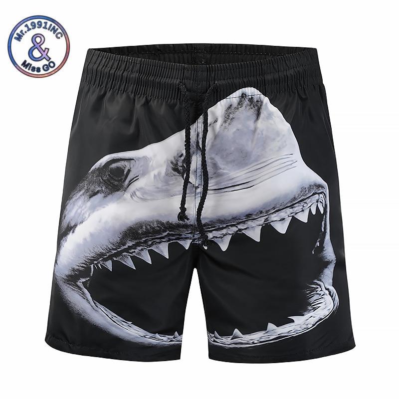 Mr.1991INC 2018 New Summer 3D Printed Shorts Men Casual styles Mens Exercise Boardshorts Shark Beach bermuda masculina