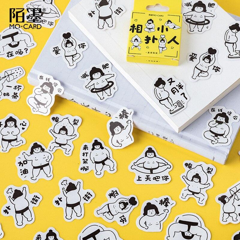 45 unids/set Sumo revisar pegatina de papel para decoración DIY arte artesanal pegatina regalo de Navidad