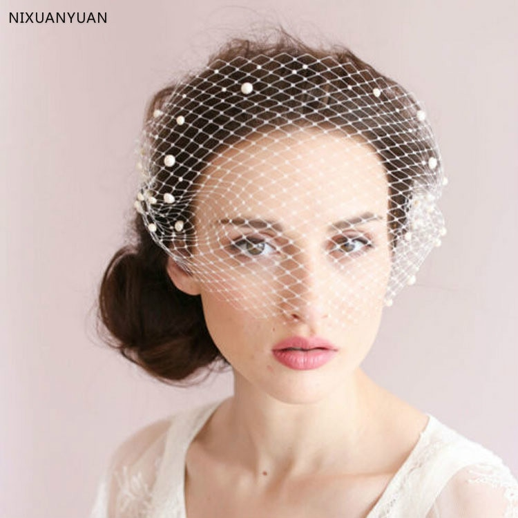 2020 nova moda nupcial net chapéus chapéu branco véu flor nupcial arco noiva rosto véus casamento noiva chapéus acessórios de casamento