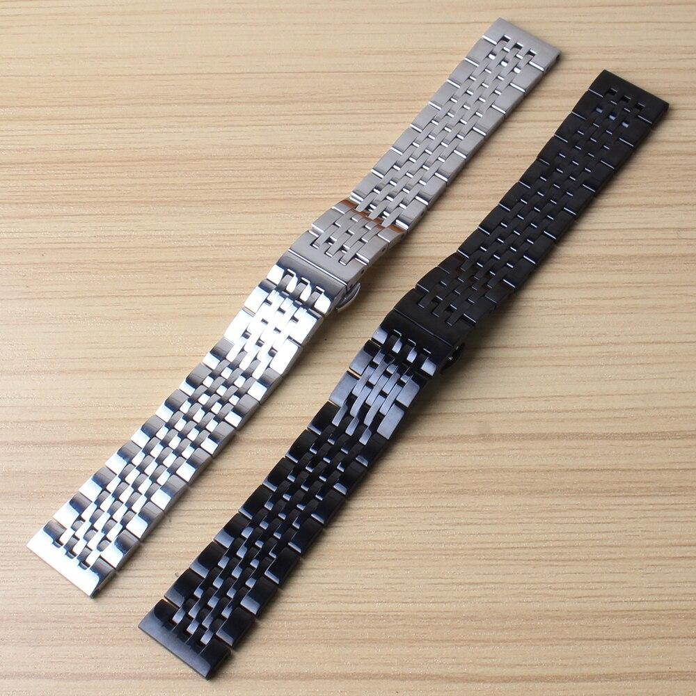 Ремешок из нержавеющей стали для мужских и женских часов серебристый однотонный