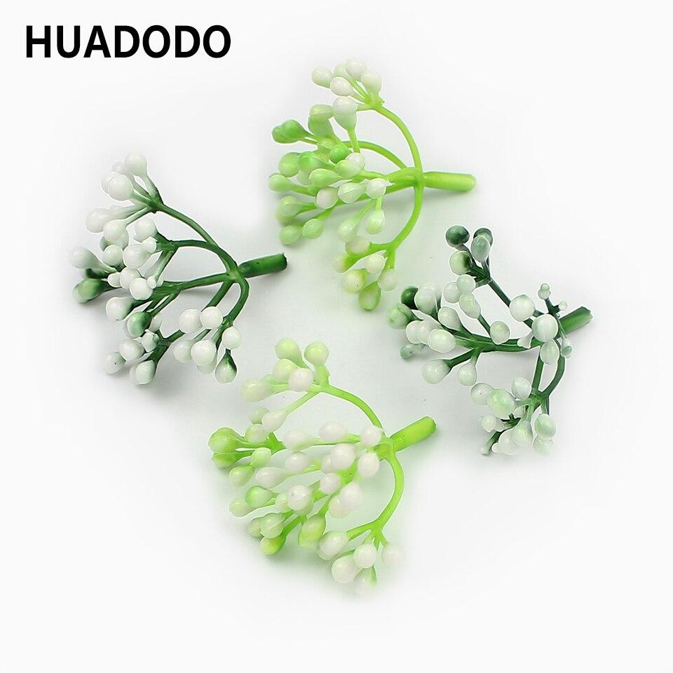 HUADODO 10 Uds Flor de gypsophila Artificial cabezas Artificial estambre flores de plástico para el hogar DIY regalo caja decoración nupcial
