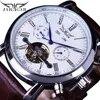 Jaragar אוטומטי עצמי רוח לוח שנה זכר שעונים Tourbillon עסקים מכאני חום חגורת עור שעון גברים שעון relogio masculino