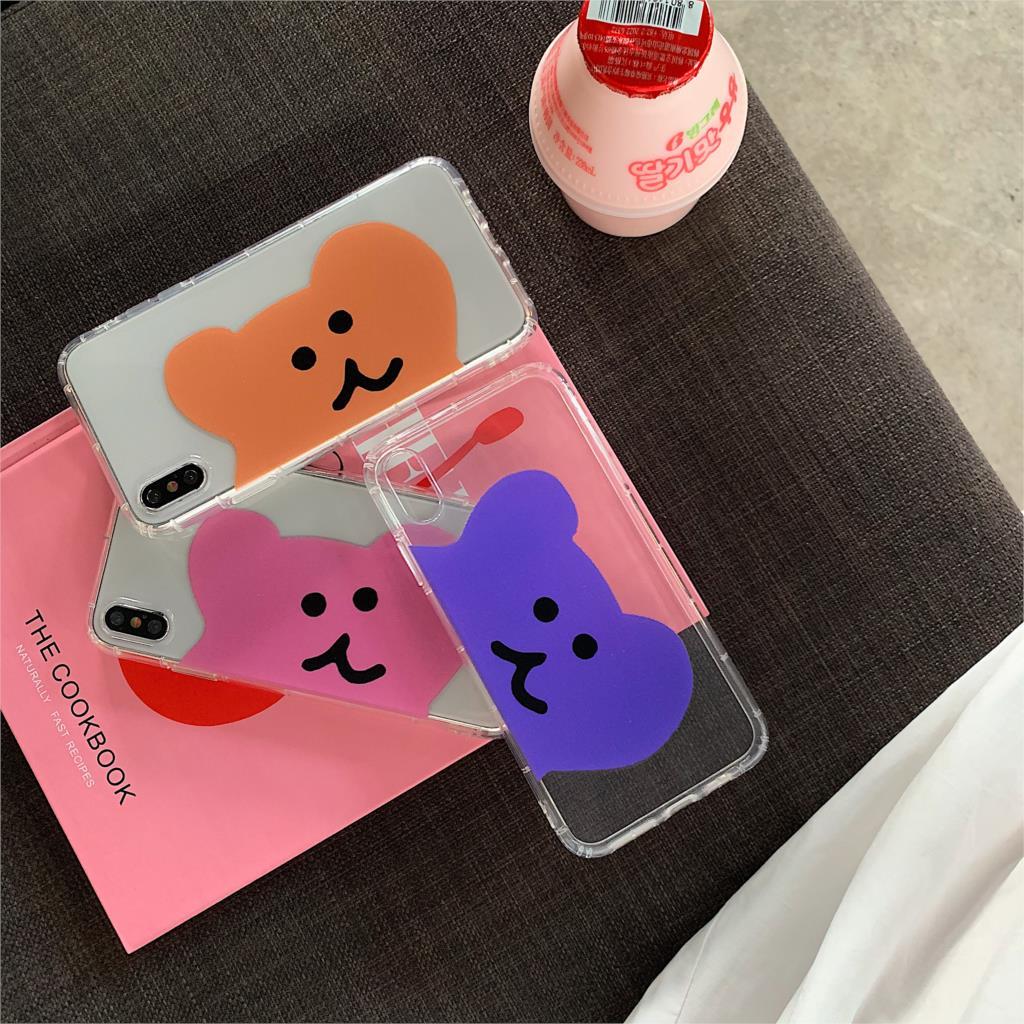 INS dibujos coreanos bonitos caramelos oso caja del teléfono para iphone Xs MAX XR 6X6 s 7 7 8 plus color par retro claro funda trasera suave TPU