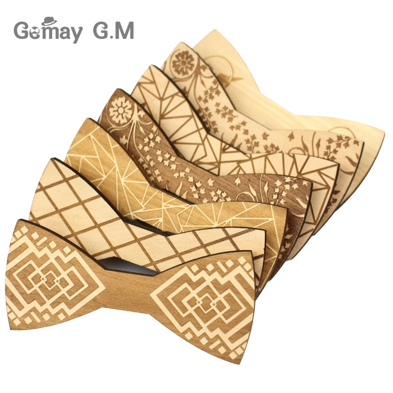 Pajaritas de madera a la moda para hombre, corbata de lazo de cuadros para hombre, Corbatas, corbata de mariposa de negocios para fiesta, Corbatas de madera de boda