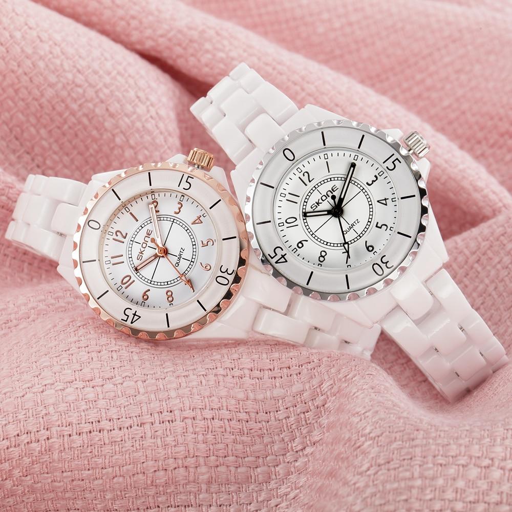 Женские кварцевые часы SKONE, розовые, золотые, белые, керамические