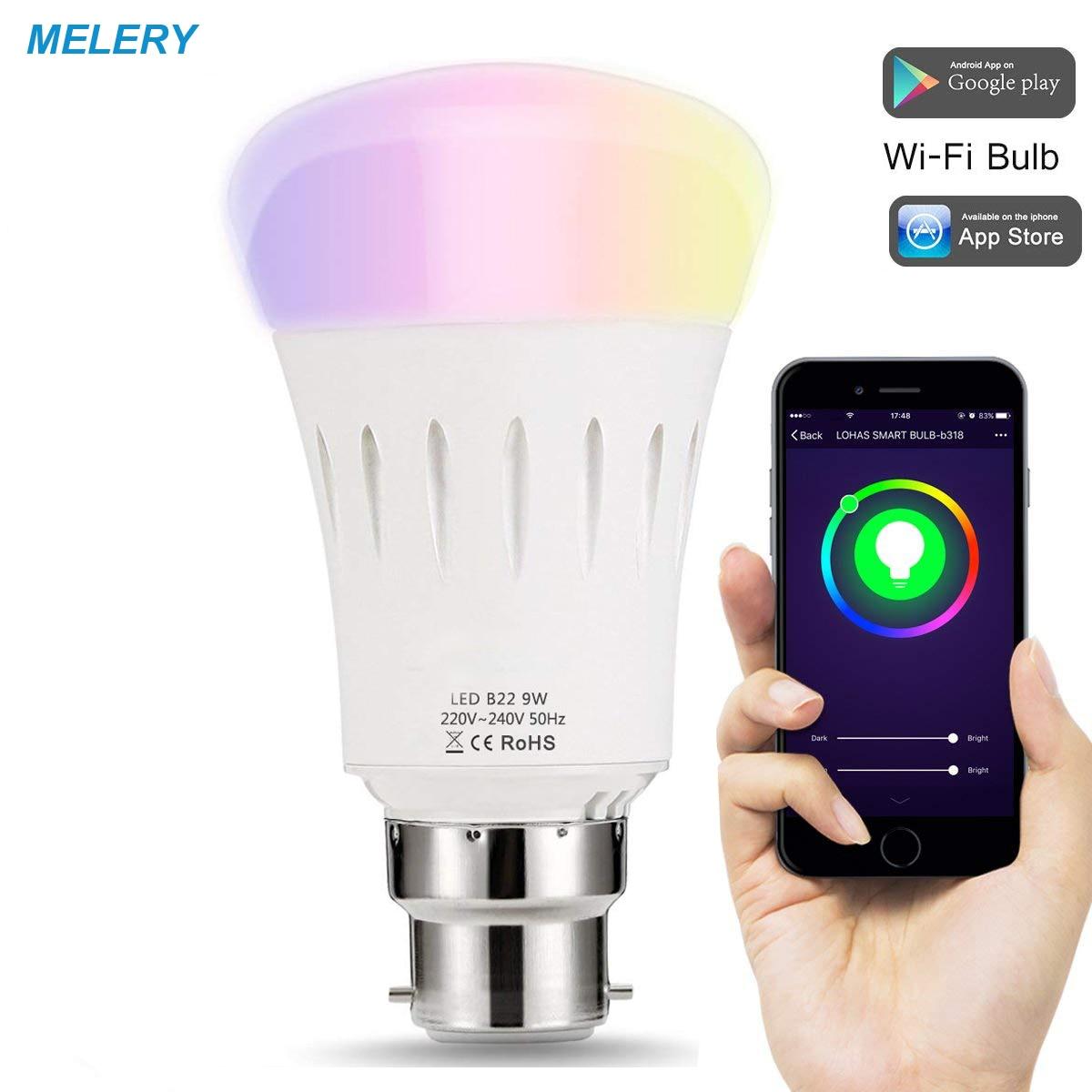 Bombilla inteligente LED WiFi B22 Luz de cambio de color 60W equivalente a control remoto Homekit funciona con Amazon Alexa Google Home,IFTTT