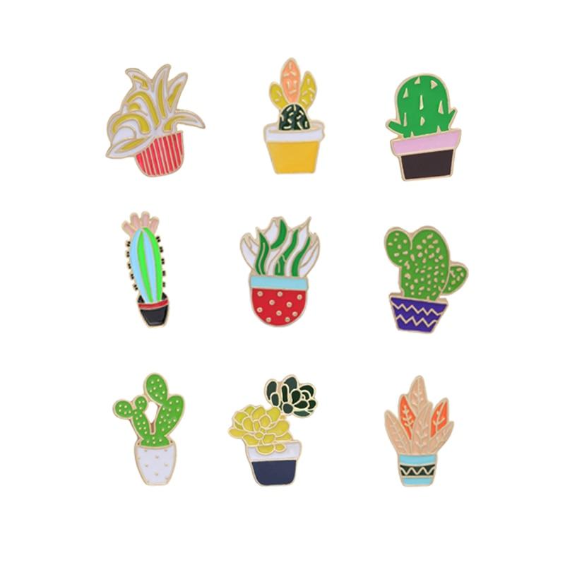 Lindo dibujo 9 estilo esmalte Pins verde planta Pot Prickly pera Cactus flor broches camiseta bolsa sombrero insignia accesorios de joyería