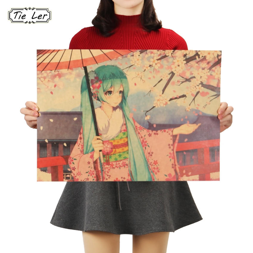TIE LER Hatsune Miku Music A Style Japanese Cartoon Comic Kraft Paper Bar Poster Retro Poster Decorative Painting 51x36cm