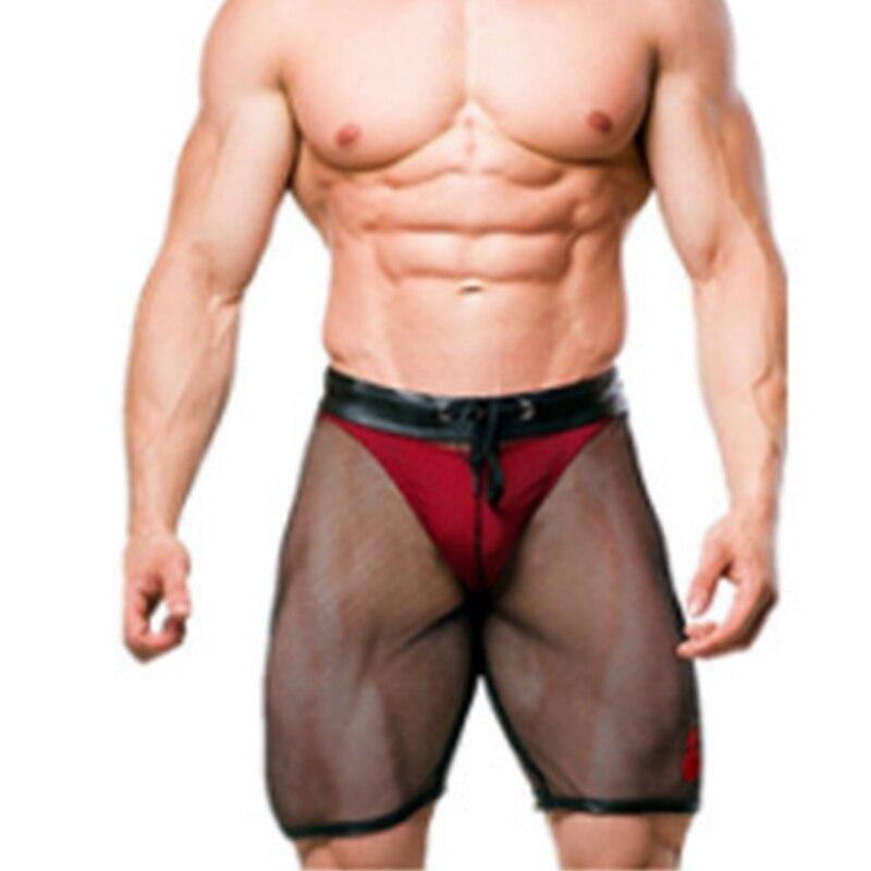 Мужские шорты 2021, брендовые модные повседневные шорты, дышащие Черные Сетчатые повседневные однотонные мужские шорты из искусственной кож...
