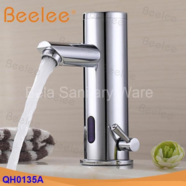O Envio gratuito de Bronze quente e fria misturador de água da torneira sensor infravermelho torneira automática torneira para a bacia do banheiro (QH0135A)