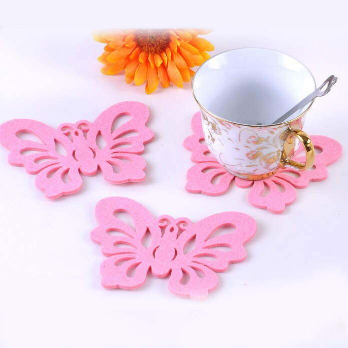 12*9 cm Borboleta Rosa Feltro Pano Copa Pad Fashion Party Cup Coaster Placemat Tabela Home Decor 50 pçs/lote SH059