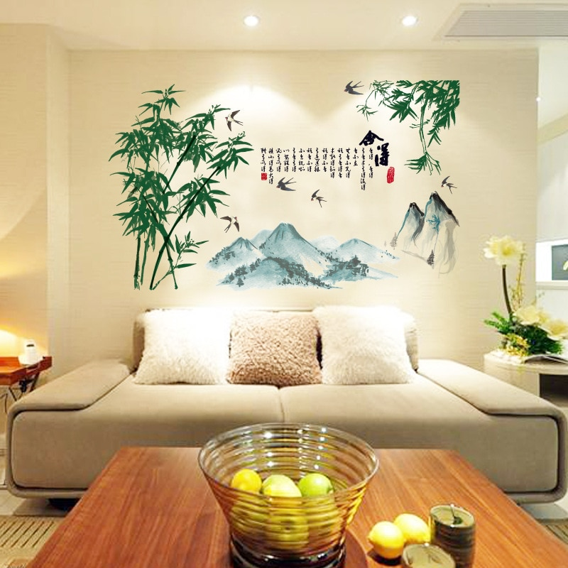 Наклейки виниловые материалы для живописи тушью, бамбуковые настенные наклейки для гостиной, спальни