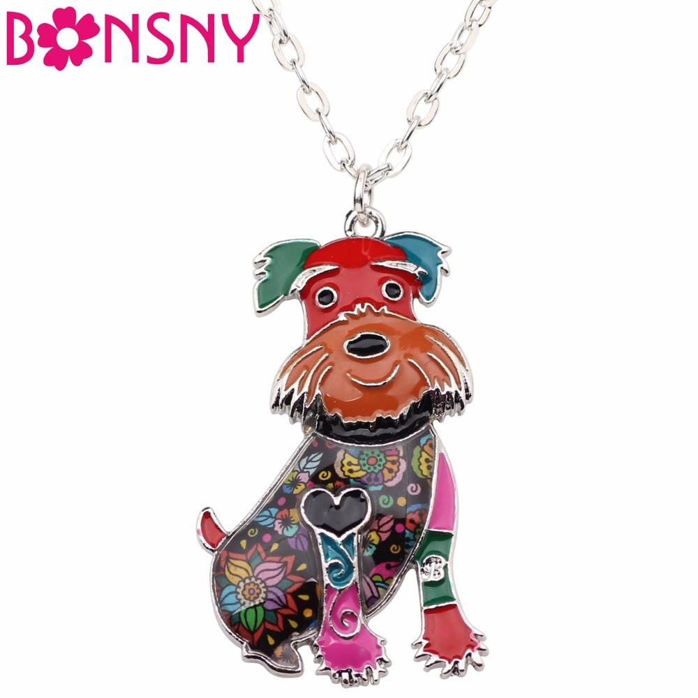 Ожерелье-чокер Bonsny, из сплава цинка, шнауцер, собачий терьер, ожерелье с цепочкой и подвесным воротником, модные эмалированные украшения для женщин и девочек