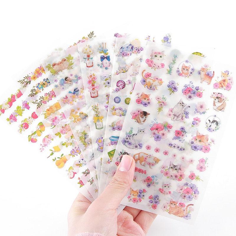 6-pz-lotto-fai-da-te-kawaii-fiore-del-pvc-adesivi-unicorno-del-gatto-del-fumetto-di-cancelleria-adesivi-scrapbooking-per-la-decorazione-photo-album-diario