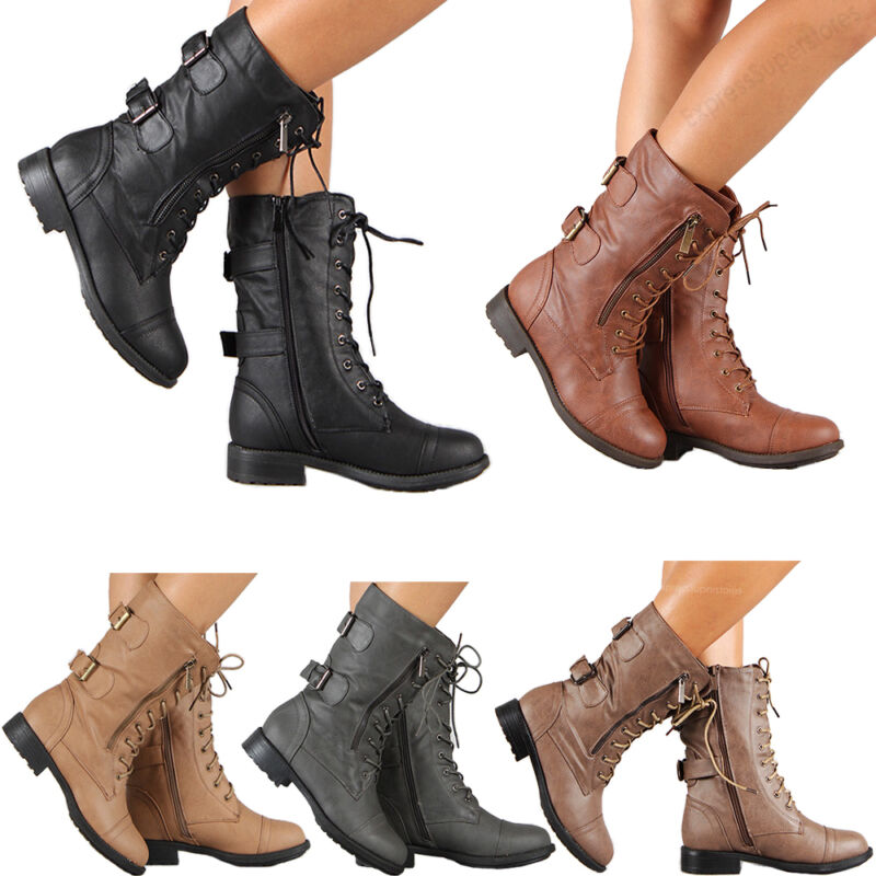 Mulheres Botas Militares de Combate Rendas Até Fivela Nova Moda Feminina Sapatos de Inicialização Plus Size 42 43