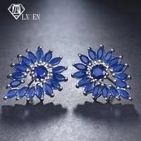 lxoen luxury big marquise women wedding stud earrings with silver color clear crystal studs earings jewelry gift