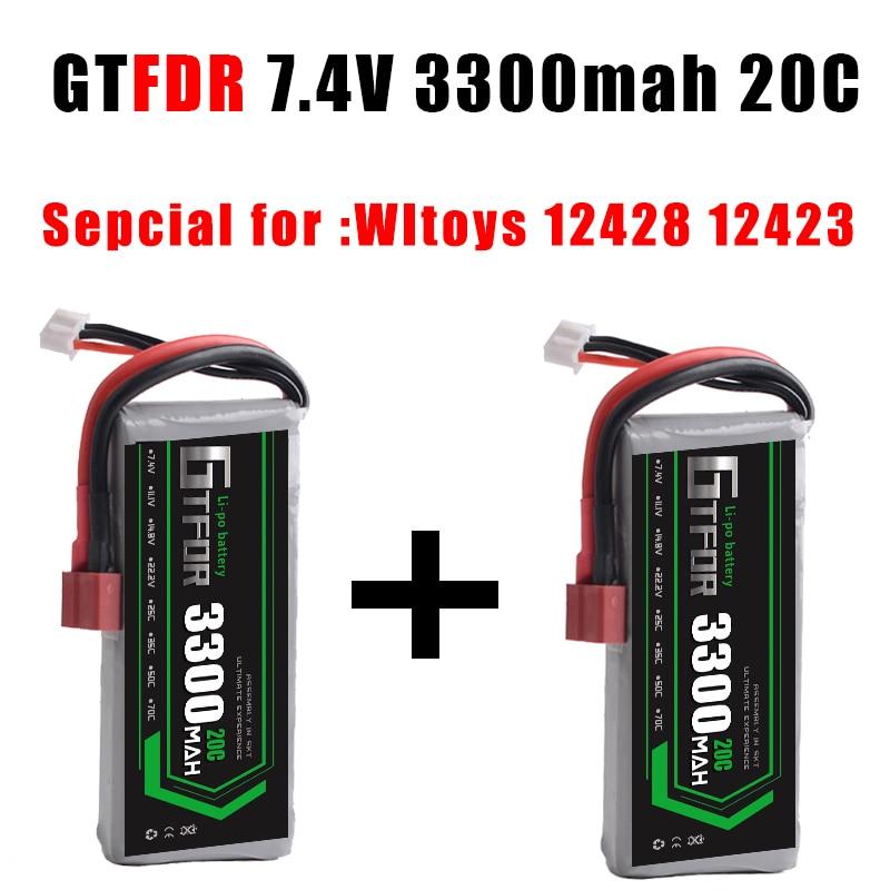 GTFDR POWER 2PCS RC Lipo Battery 2S 7.4V 3300mah 20C Max40C foryuefei 03  Wltoys 12428 12423 1:12 RC Car Spare parts RC Boat