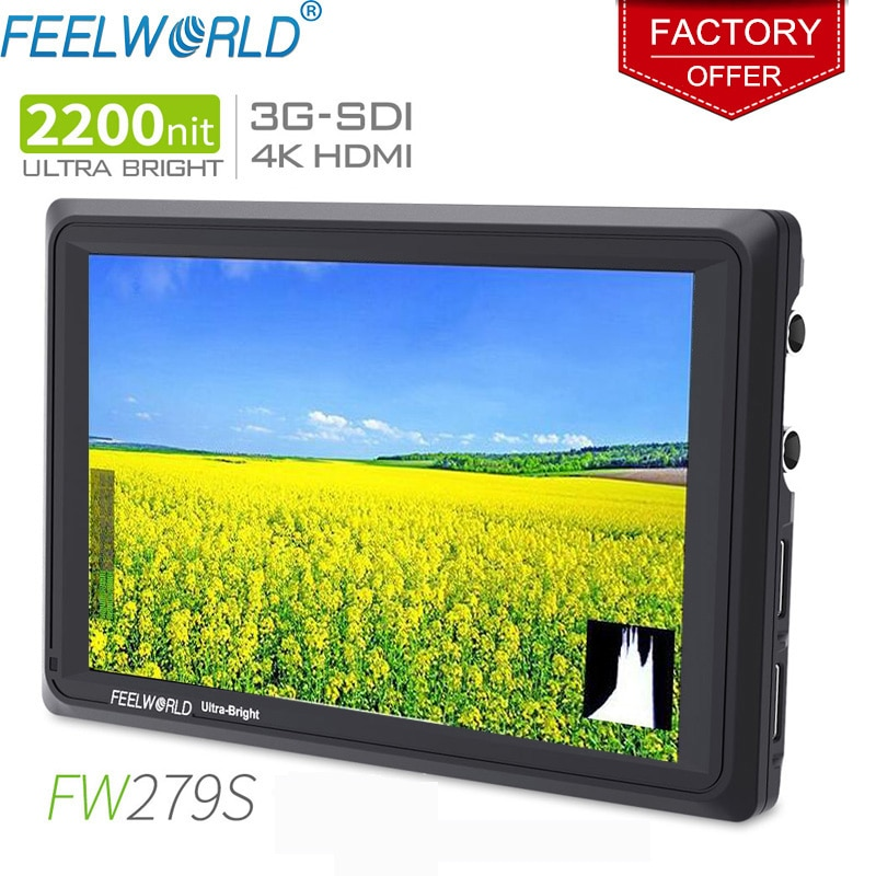 FEELWORLD-شاشة ميدانية لكاميرا HDMI FW279S ، شاشة 7 بوصة IPS ، 2200 شمعة ، 3G-SDI ، 4K ، لتصوير الفيديو