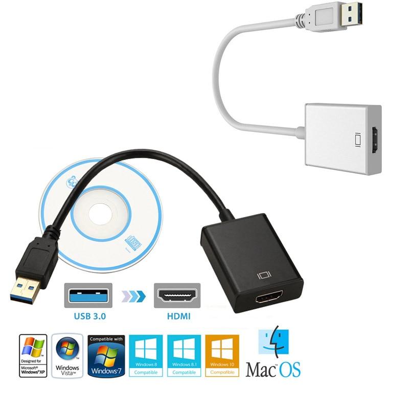 De alta velocidad USB 3,0 macho a HDMI compatible con adaptador hembra...