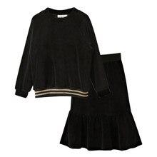Chemisier en velours noir à manches longues   Ensemble de 2 pièces de vêtements en velours pour enfants et adolescentes de 4-16 ans avec jupe évasée en queue de poisson