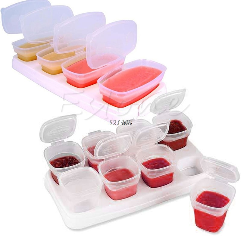 Juego de 8 bloques para bebé, recipientes de comida para bebés, tazas de almacenaje reutilizables apilables con bandeja A20071