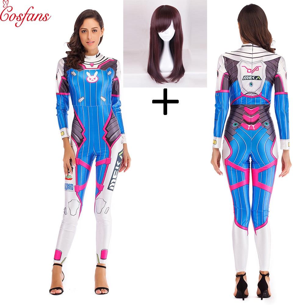Juego Overwatch Dva disfraz cosplay de mujer/mujeres/niñas/dama D. Va Lycra 3D estampado cuerpo Spandex fiesta de Halloween Zentai peluca trajes