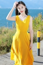 Yellow Beach Summer New Women Lace Chiffon V neck Bohemian Dresses rockabilly summer clothes for women vintage dresses 50s 60s