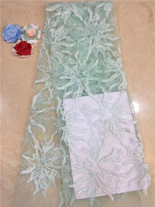 Tela de encaje turquesa africana, más reciente encaje de flores con muchas cuentas y piedras, tela de encaje de tul francés para vestidos de novia melocotón