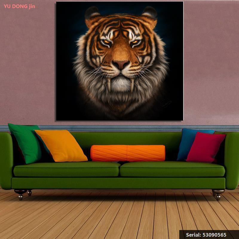 Yu Dong Jin tigres caninos colmillos dentales sable dientes negro Animal pintura al óleo clásica arte Spray53090565