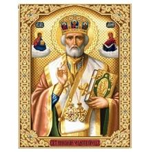 "5D men mosaic Diamond Painting Mosaic Icons""St. Nicholas Of Myra""3D Square diy Diamond Embroidery Pattern Orthodox Religion"