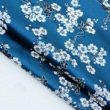 Nouveau tissu de soie en satin indigo fleur de prunier   Pour patchwork, robe de mariée, canapé en tissu dameublement, scrapbooking en mètre