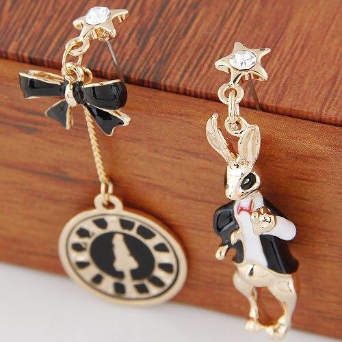 Nuevos pendientes de moda exagerados asimétricos con campana y conejo, pendientes esmaltados modernos para mujer, envío gratis
