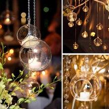 6/8/10/12CM szkło kryształowe wiszące świecznik uchwyt nowoczesne świecznik Home Wedding Party kolacja Decor znicz posiadacze