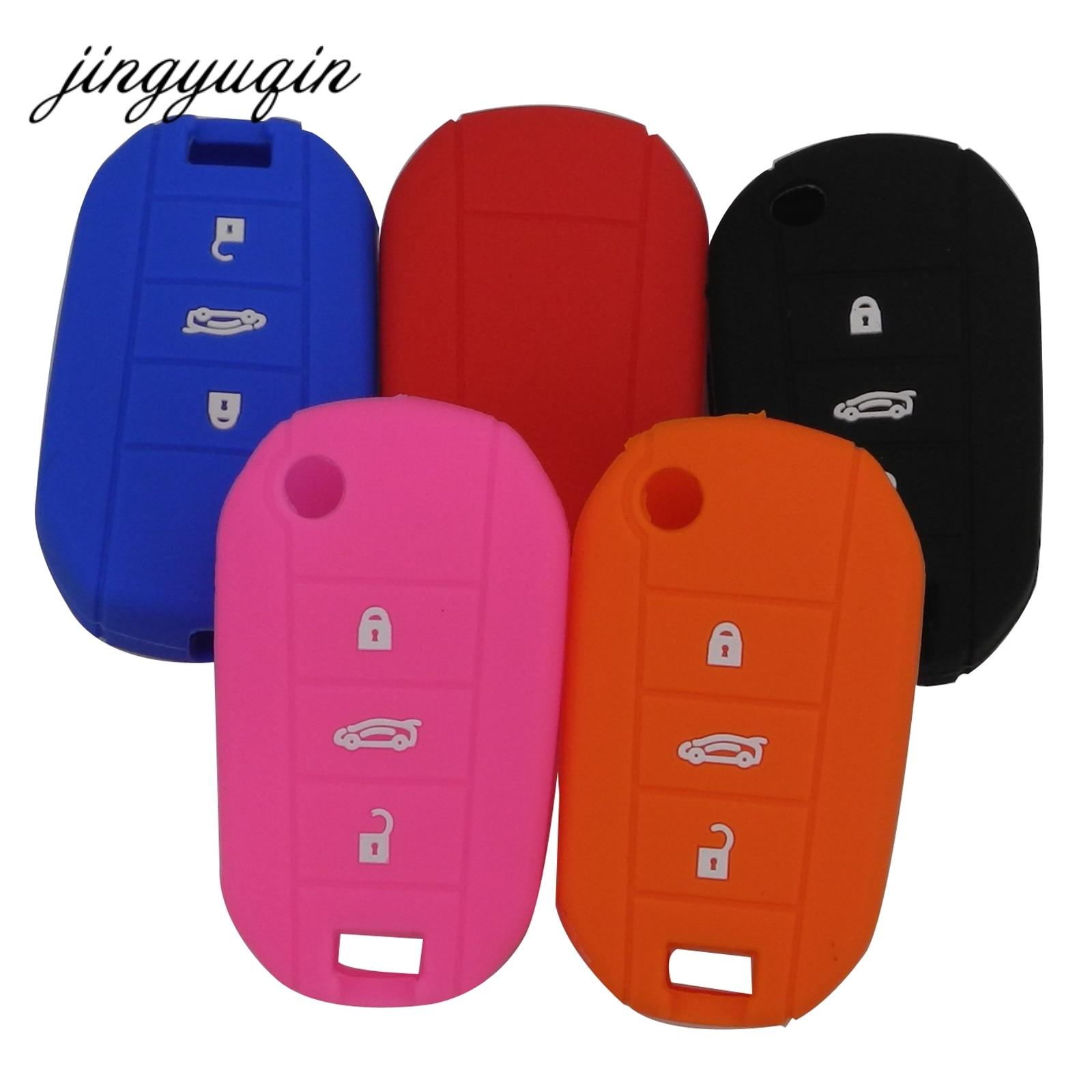 Jingyuqin 30 unids/lote cubierta de silicona con tapa para llave de coche para Citroen C4 CACTUS C5 C3 C4L Peugeot 508 301 2008 3008 408 llavero
