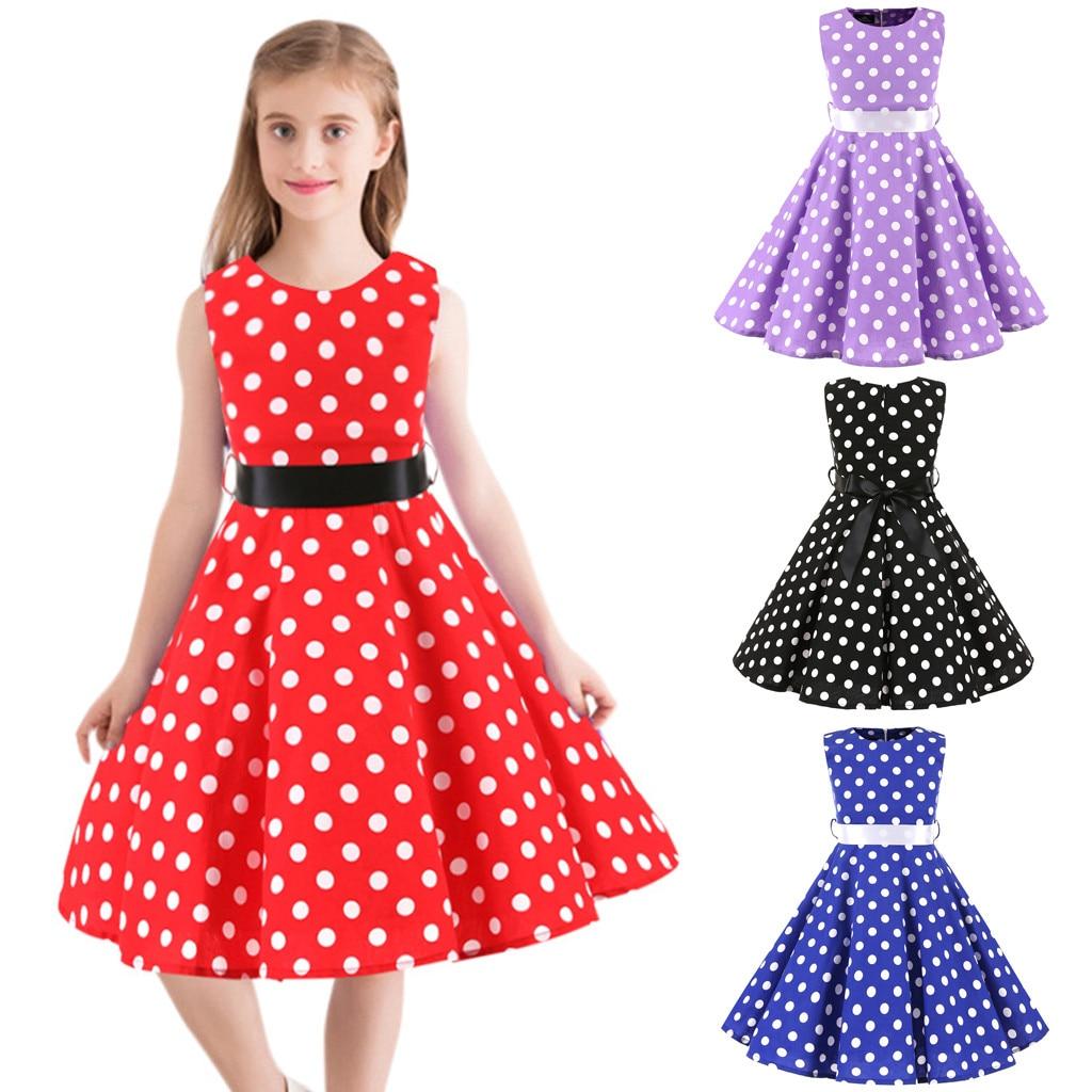 Summer New Fashion Kids Teen Children Girl Vintage 1950s Retro Sleeveless Dot Print Sashes Bow Dress Wholesale Free Ship Z4