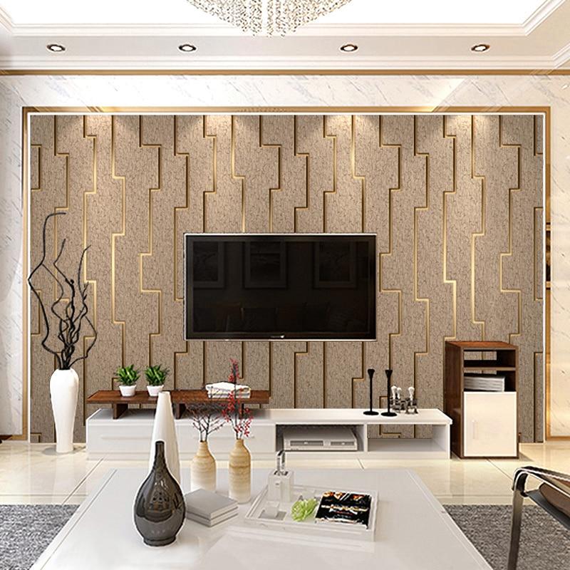 3D مخطط غير خلفية قماش للجدران لفة الحديثة غرفة المعيشة ديكورات جدارية بخلفية التلفاز ورق حائط غرفة نوم Papel دي Parede 3D