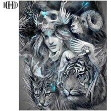 Tête de mort de femme avec image de tigre   Bricolage, peinture en diamant sur une surface complète carrée et circulaire, broderie en diamant 5D, tête de crâne brodée en croix de diamant